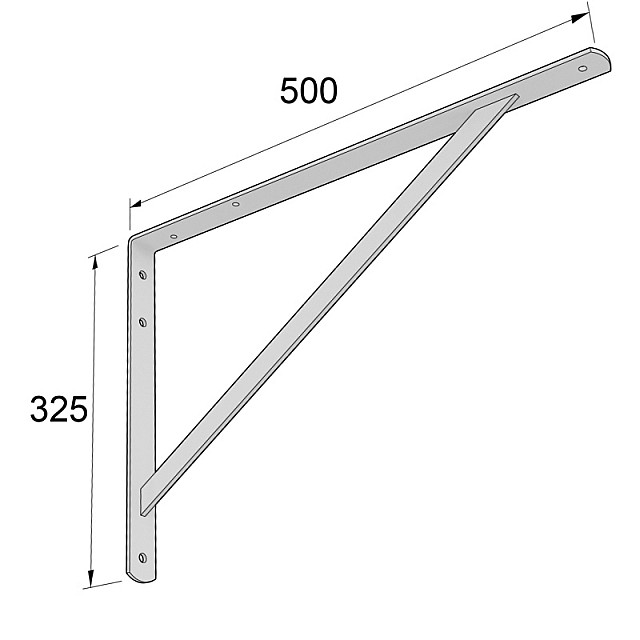 HEAVY DUTY SHELF BRACKET 500x325mm/185kg  WHITE